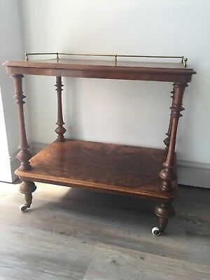 victorian figured walnut inlaid two tier whatnot table