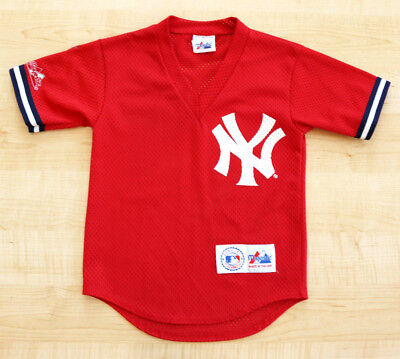 Vintage 1990's New York Yankees Red Majestic Baseball Jersey Sz.s Child! Rare