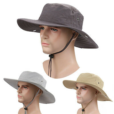 Mens Womens Wide Brim Outdoor Camping Fishing Caps Sun Protection Boonie Hat Hot