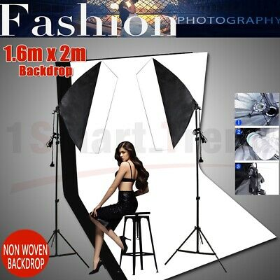 Photography Studio Softbox 2X135W Continuous Lighting Light Stand KIT+2 Backdrop