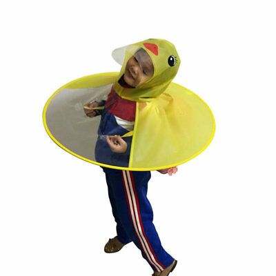 Cute Cartoon Duck Kids Raincoat Umbrella UFO Shape Rain Hat Cape Foldable AU