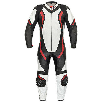 Leather Suit Racing Jumpsuit Xls Black Red White One-Piece Size 48 - 58