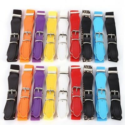 Candy Color Toddler Boys Girl Adjustable Belt PU Leather Elastic Thin Waistband