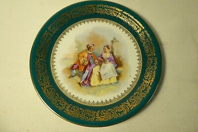 Limoges France Picture Plate Gilt Decoration Maiden And Gentleman