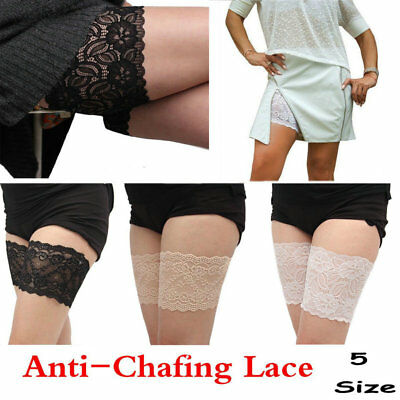2PCS 5 Size Women Lace Prevent Leg Warmer Elastic Socks Anti-Chafing Thigh Band