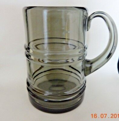 Whitefriars Glass Smokey Grey Ribbed Tankard Or Mug
