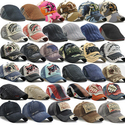 AU Mens Boys Denim Beret Snapback Baseball Ball Cap Outdoor Sport Hat Adjustable
