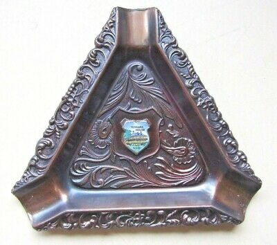 "BRASS  "" TERRARA HOUSE "" ASHTRAY TRIANGLE 3 1/2"" (9cm) NEW"