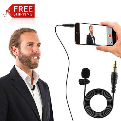 3.5mm Clip On Lapel Mic Hands Free Wired Condenser Mini Lavalier Microphone