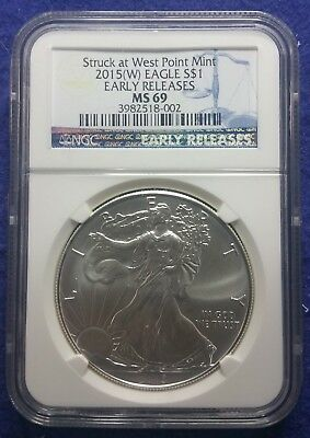 2015 (W) American Silver Eagle NGC MS69 Early Releases Blue Label