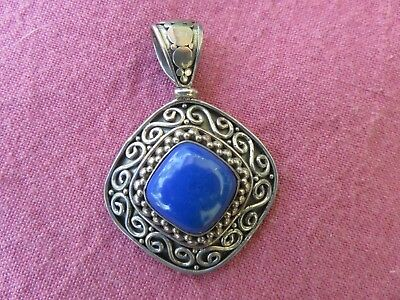 Vintage Sterling Silver Blue Lapis Pendant Signed Indonesia Reduced Price