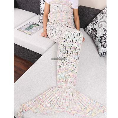 Adult Handmade Knitted Crochet Colorful Mermaid Tail Shape Blanket CLSV 01