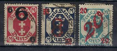 Danzig 1922 Surcharges SG 96-98 Used