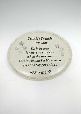 OVAL MEMORIAL PALE GREY GRANITE EFFECT PLAQUE FLOWER DECO SISTER OR DAUGHTER