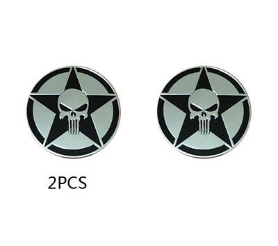 2pcs Aufkleber Emblem Sticker Aluminium Harley Davidson Skull The Punisher