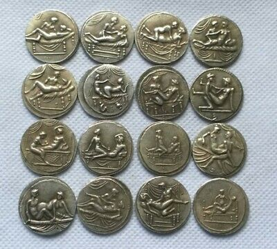 Collectible ancient Greek copper silver-plate coin collector coin 16 Pcs of set