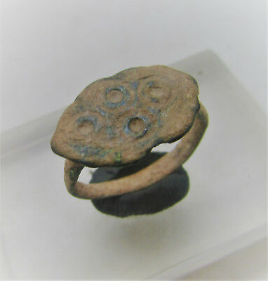 Ancient Saxon Bronze Finger Ring With Evil Eye Motifs