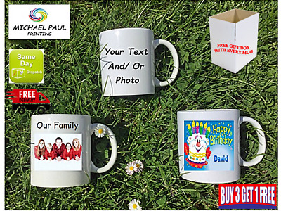 PERSONALISED TEXT PHOTO MUG Valentines Birthday Novelty Gift Tea Cup promotion