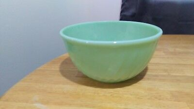 Vintage Fire King Jadeite Swirl Glass Mixing Bowl 7""