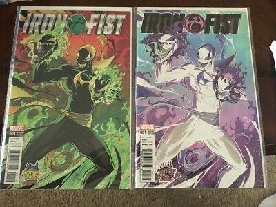 IRON FIST #1 VENOMIZED J Scott Campbell Variant LOT of 2 (Regular and Negative)