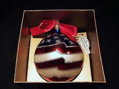 """Waterford Holiday Heirlooms """"AN AMERICAN TRIBUTE"""" Christmas Round Ball Ornament"""