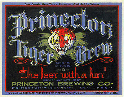Princeton Brewing Tiger Brew Beer Label T Shirt Wisconsin Small - Xxxlarge