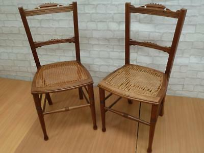 2 x Cane Base shabby Chic French Renaissance Style Bedroom Chairs