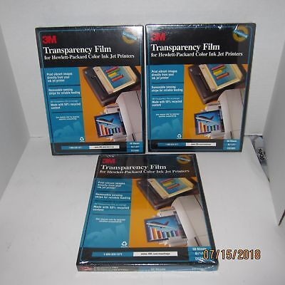 "3 Packs of 50 Sheets 3M Transparency Film For HP Ink Jet Printers 8 1/2"" x 11"""