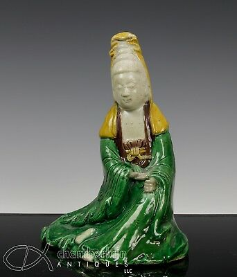 Antique Chinese Famille Verte Porcelain Statue Of Seated Guanyin