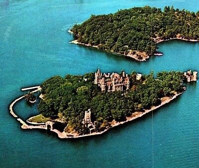 Aerial view Boldt Castle and Heart Island Thousand Islands Vintage Postcard