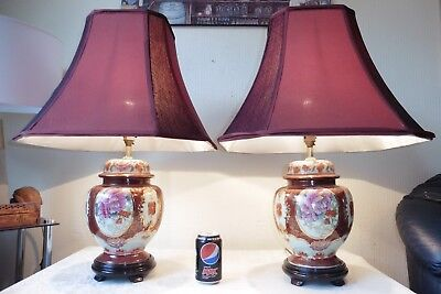 Large Pair Of Vintage Chinese Gilt Porcelain Table  Lamps With Vintage Shades
