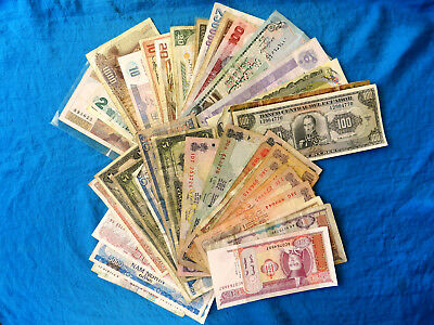 Lot of 50+ Vintage/Current Foreign Banknotes **Some Collectible**