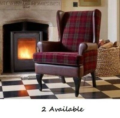 HIGH BACK ARMCHAIR. Faux Leather & Tartan Design.With Armcovers. rrp £249