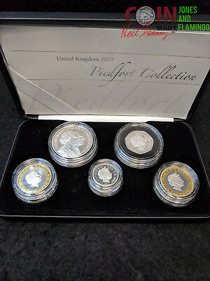 inv#2514 2007 UNITED KINGDOM PIEDFORT STERLING (.925) SILVER 5 COIN COLLECTION
