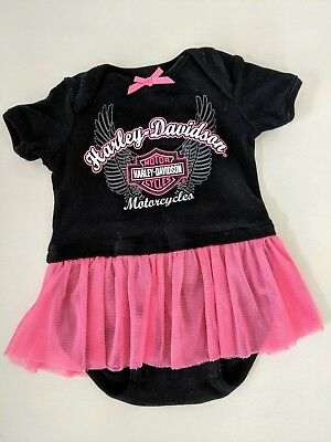 Harley Davidson Pink & Black Onesy Outfit with Tutu Size 3-6 month
