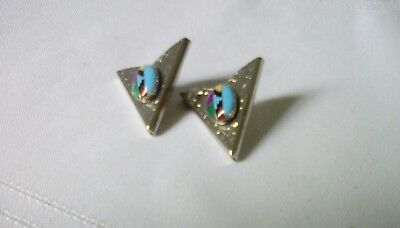 Southwestern Turquoise Inlay Collar Tips