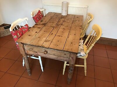 Antique Pine Victorian Farmhouse Table + Four Painted Beech/ Elm Chairs