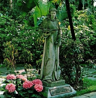NOW IN LEGOLAND Cypress Gardens FL St. Fiacre statue from Italy Vintage Postcard