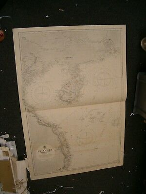 Vintage Admiralty Chart 2661A CHINA SEA - NORTHERN PORTION 1913 edn