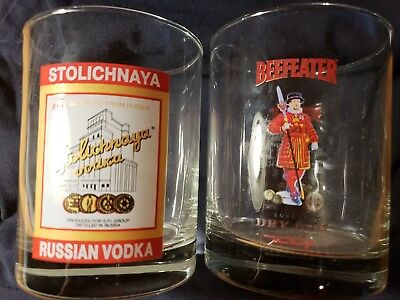 Set of 2 Glass Tumblers Beefeater London Dry Gin & Stolichnaya Russia Vodka MINT