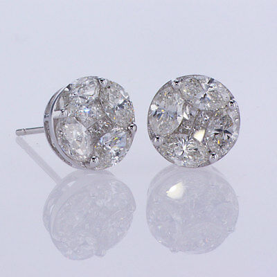 1.90CT F-G SI Marquise and Princess Cut Diamond Earrings in 18K White Gold
