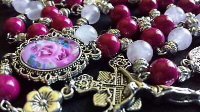 7ee7883a50791 GORGEOUS DAINTY CRIMSON Natural Stone Rosary - Fossil Stone & Rose Quartz