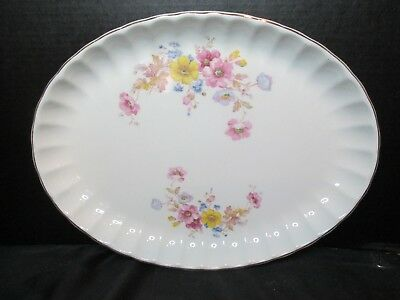 "W.S. George Bolero Mayfair Brushed Gold Trim Platter Circa 1943 13 3/4"" Long"