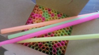 """7.75"""" Giant Assorted Neon Cocktail Sip Straw ( 150 Per Box ) Home Bar/taverns"""