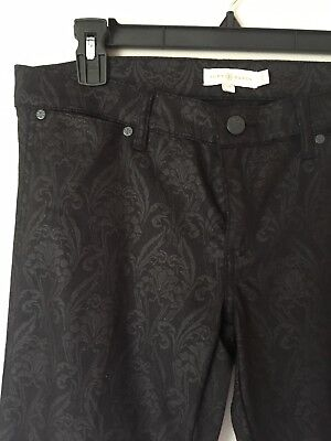 Tory Burch Honour Flat Front Skinny Jeans | Black Floral Size 29 | $225
