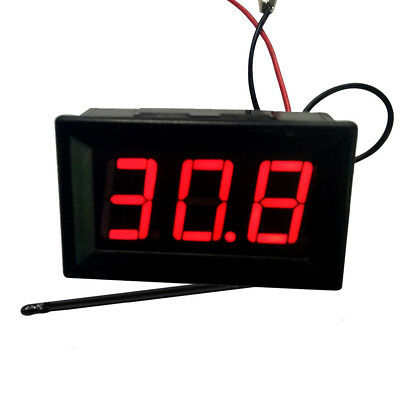 12V Red LED -50~110℃ High Low Temperature Digital Thermometer With Probe Power