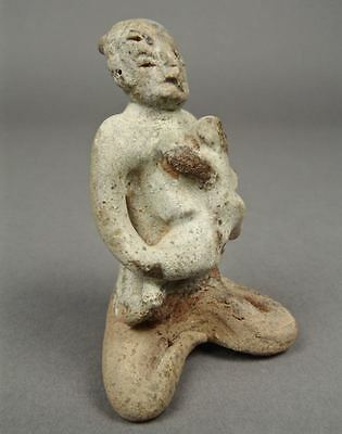 15-16thC SAWANKHALOK MOTHER CHILD Ceramic Clay Figure Thailand Thai Sculpture