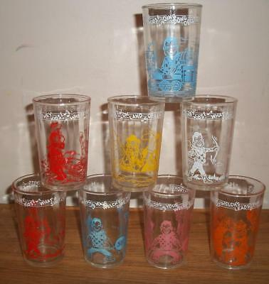 Lot of 8 Different 1950's WELCH'S JELLY / HOWDY DOODY CHARACTER GLASSES