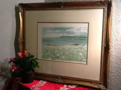 Lovely Antique/French Style Large Swept Gilt/Gold Frame with print   #4211