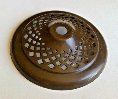 "Brown Color Solid Brass Heat Cap Vented Lamp Restoration 3 7/8"" wide"